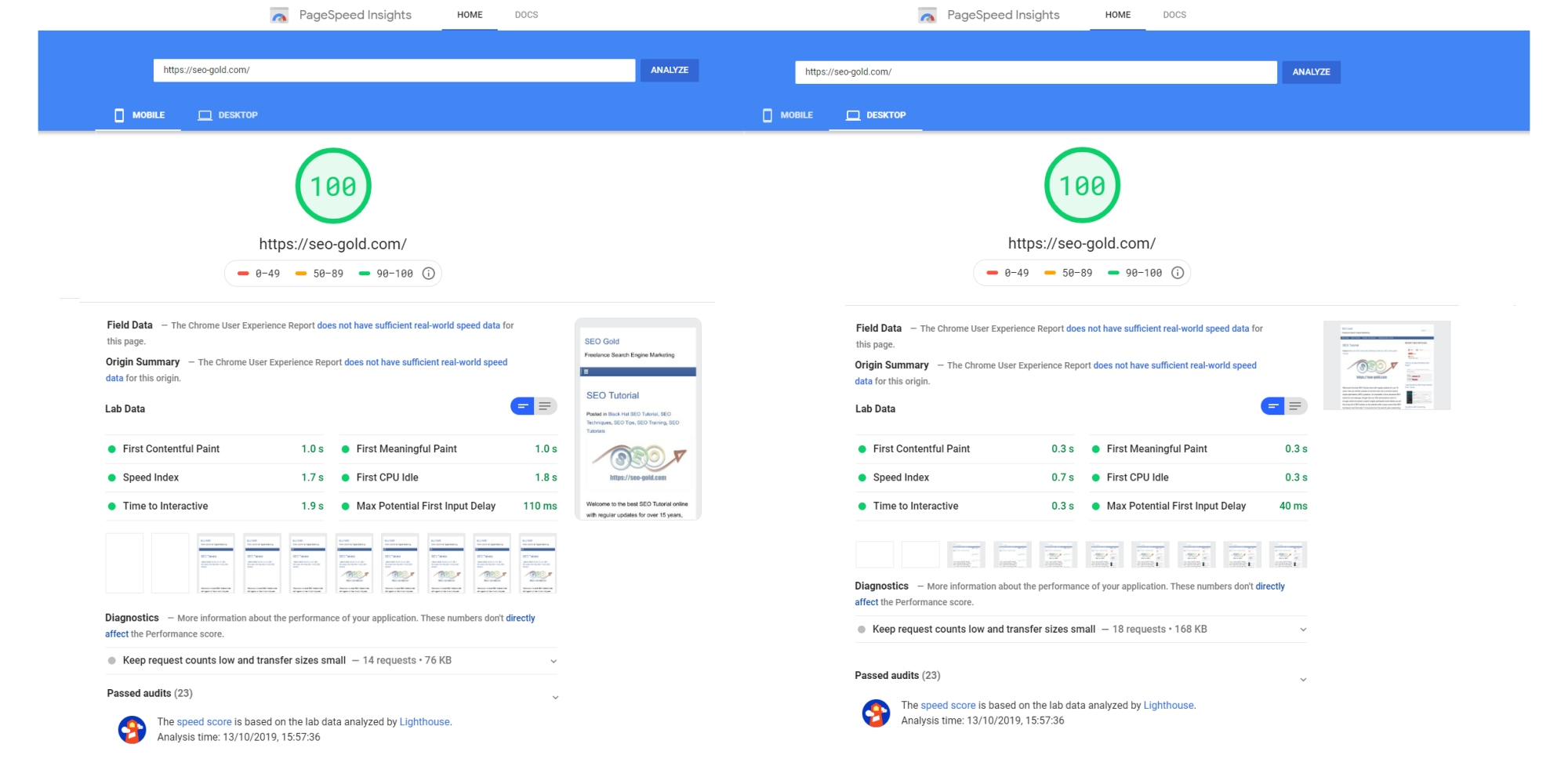 100% on Google PageSpeed Insights