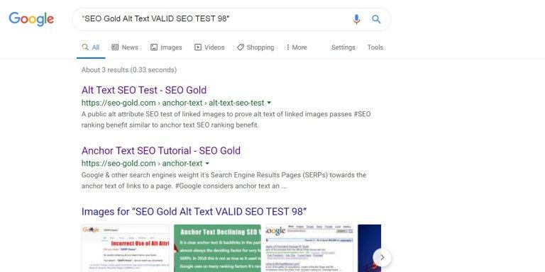 Alt Text of Linked Image Positive SEO Test Result