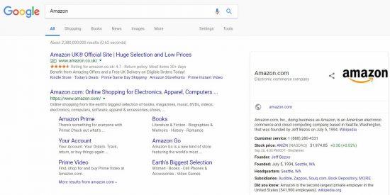 Amazon Google Search Result