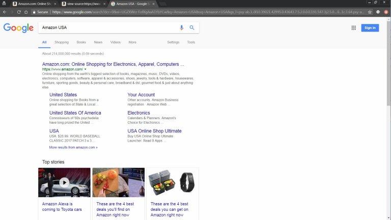 Amazon USA Website in Google