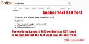 Anchor Text SEO Test Using Unique Keywords