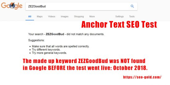 Anchor Text SEO Test Using Unique Keywords