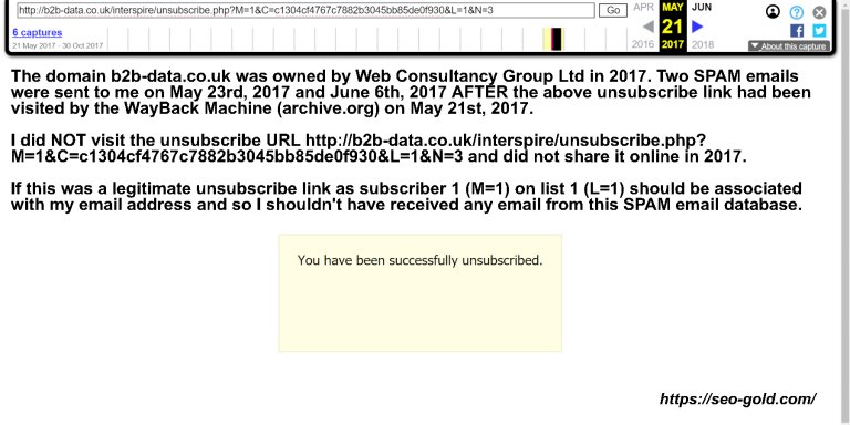 Archived Web Consultancy Fake Unsubscribe Link