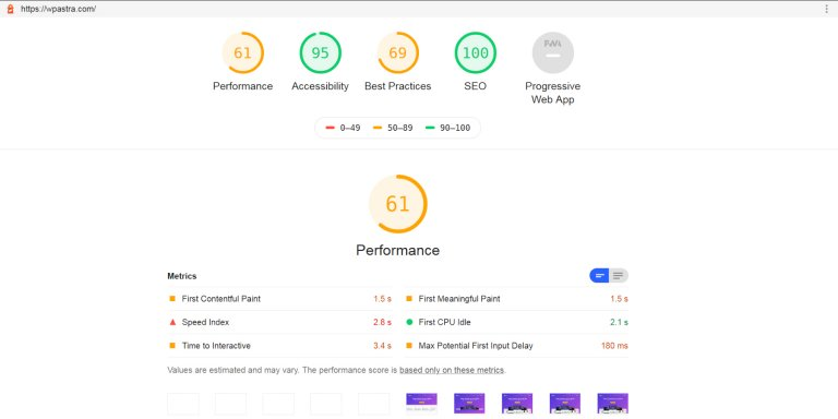 Astra Theme Lighthouse SEO Report