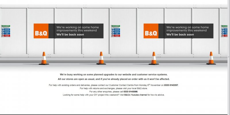 B and Q We'll be Back Soon Notice