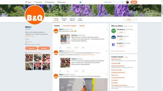 B&Q Twitter Account Screenshot