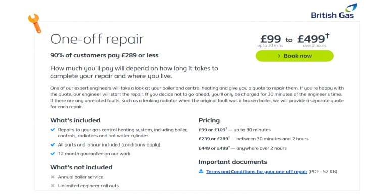 British Gas One Off Boiler Repair from £99