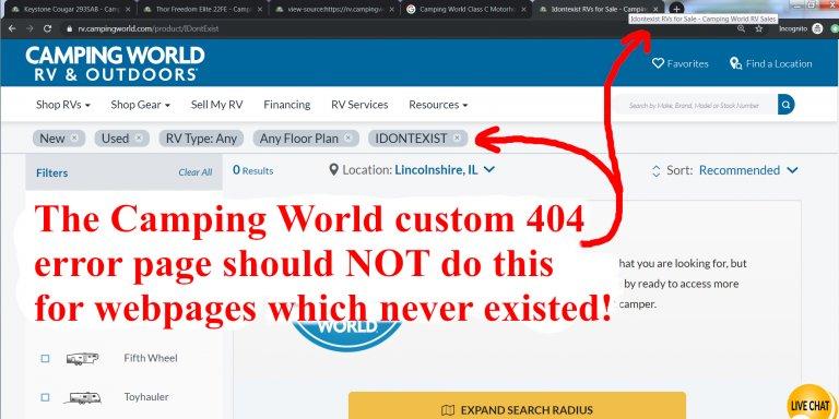 Camping World Grey Hat SEO Custom 404 Error Page