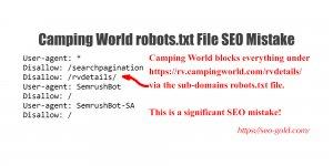 Camping World robots.txt File SEO Mistake