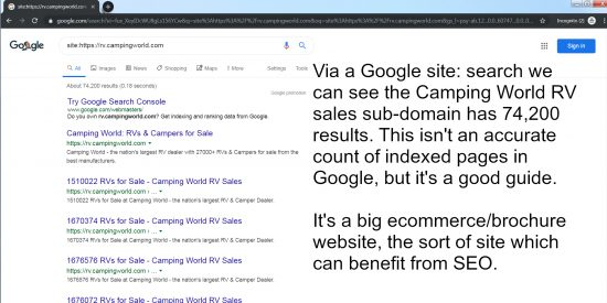Camping World RV Sales Site is a Good Candidate for SEO Help