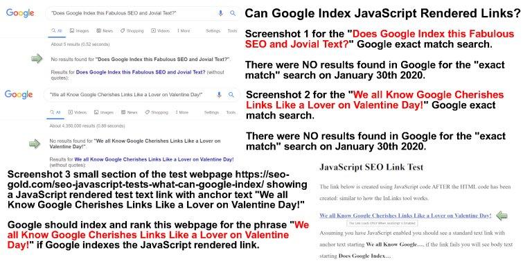 Can Google Index JavaScript Rendered Links, Before Screenshots?