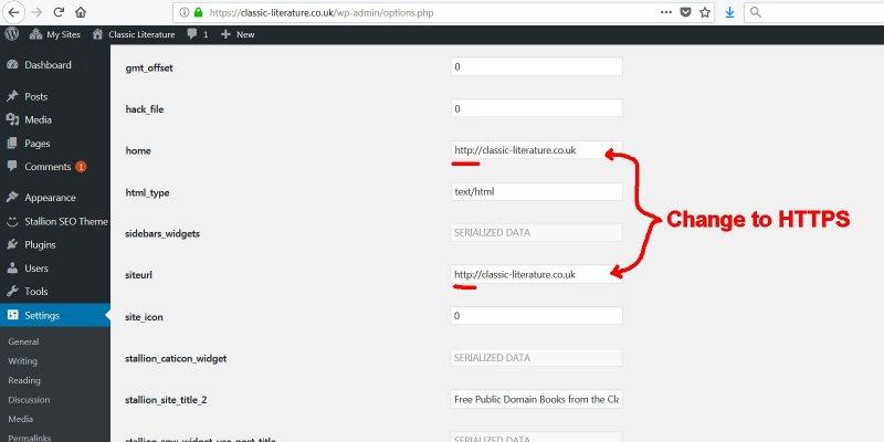 Change HTTP to HTTPS via the WordPress Hidden Options Page