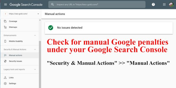 Check for Manual Google Penalties via Google Search Console