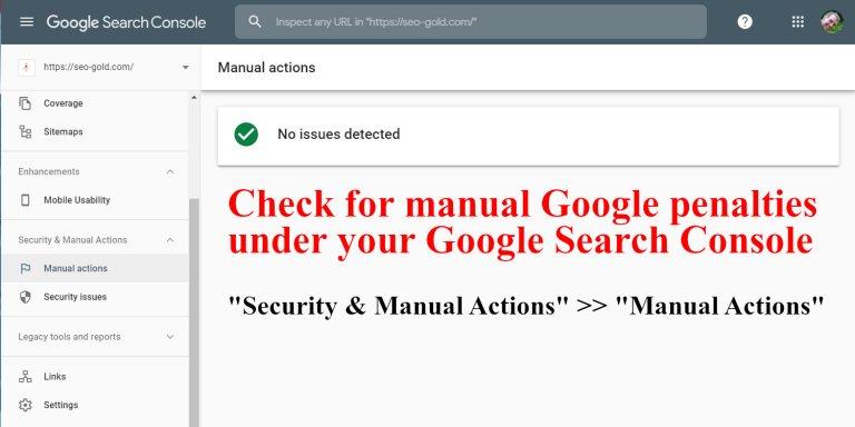 Check for Manual Google Penalties via Google Search Console