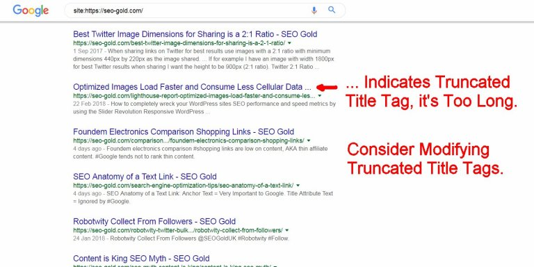 Consider Modifying Truncated Title Tags