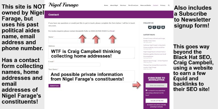 Craig Campbell SEO Passing Off as Nigel Farage MEP