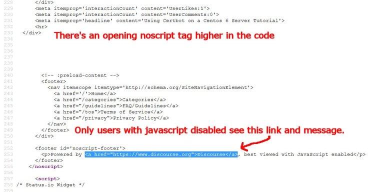 Discourse Forum Software Semi-Hidden Noscript Link