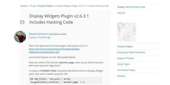 Display Widgets Plugin v2.6.3.1 Includes Hacking Code