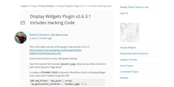 Display Widgets Plugin Includes Hacking Code