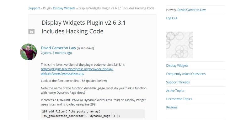 Display Widgets Plugin Includes Hacking Code