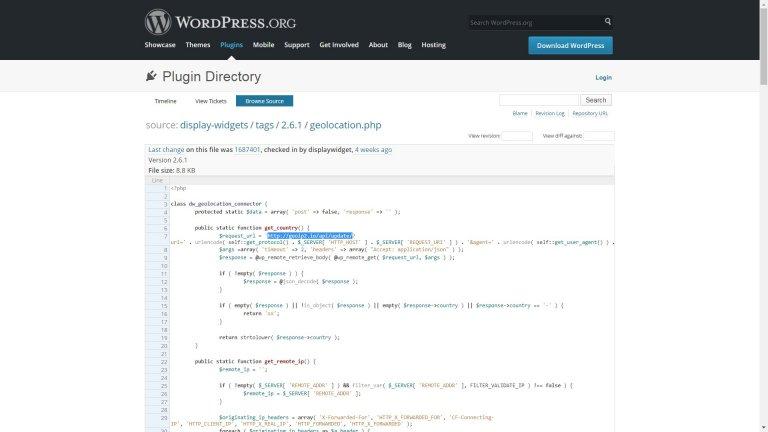 Display Widgets Plugin Tracks Visitor Data