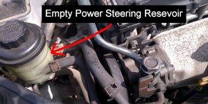 Empty Power Steering Fluid Reservoir
