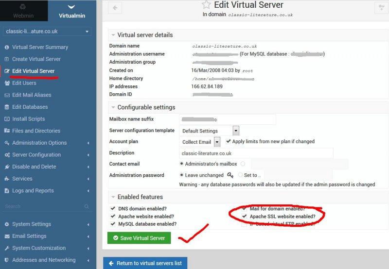 Enable Apache SSL Module in Centos via Virtualmin