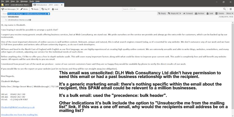 Example Unsolicited Bulk Email SPAM