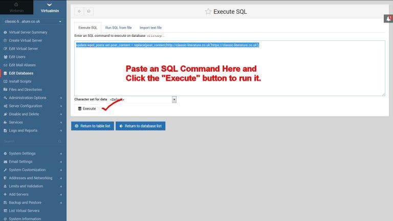 Execute Custom SQL Commands in Virtualmin