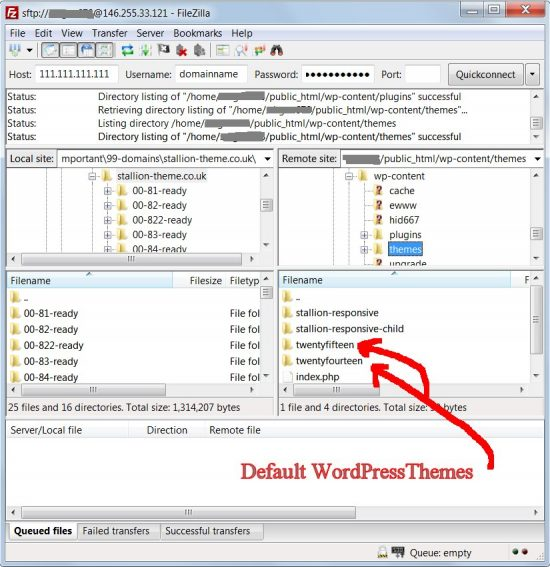 Filezilla Default WordPress Themes