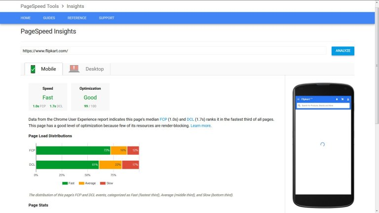 Flipkart Mobile Pagespeed Insights Results