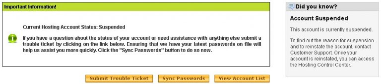 Godaddy Current Hosting Account Status Suspended