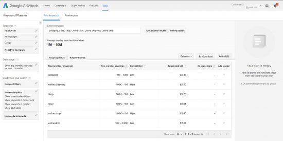 Google AdWords Keyword Planner SEO Tool