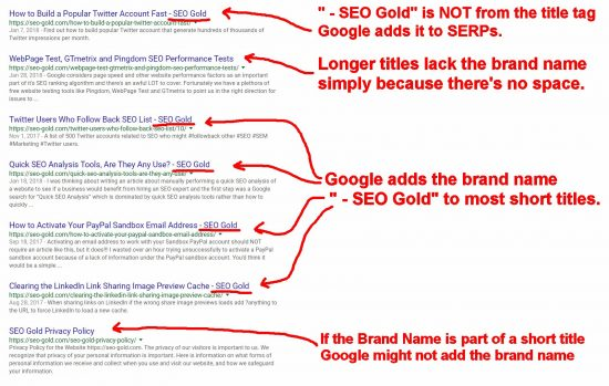 Google Appends the Site Name or Brand Name to Title Tags