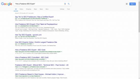 Google Exact Match Search for Hire a Freelance SEO Expert
