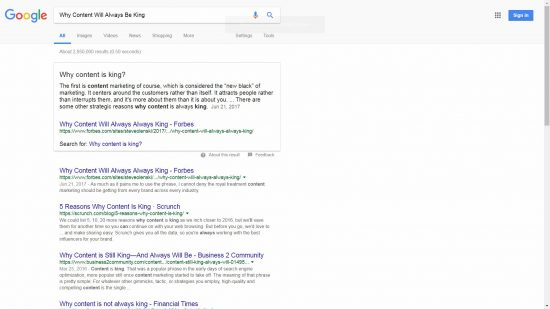 Google Featured Snippet Why Content is King