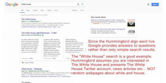 Google HummingBird Algorithm Provides Answers to Questions