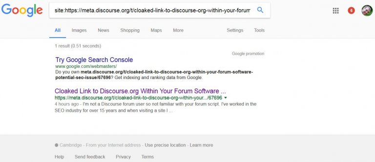 Deleted Discourse Forum Post About Blackhat SEO Link Cloaking!