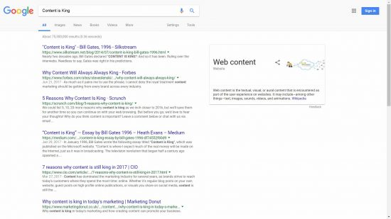 Google SERP for Content is King