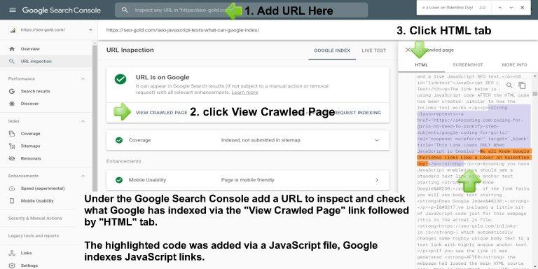 Google URL Inspection Tool Shows JavaScript Rendered Links