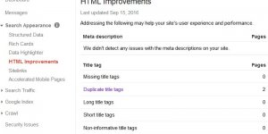 Google Webmasters Tools Html Improvements