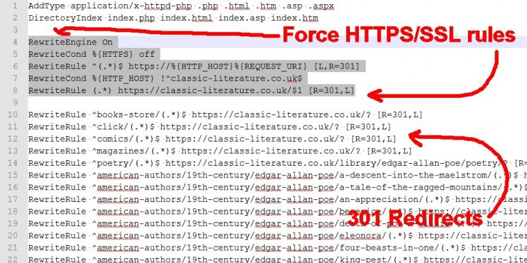 How to Force SSL and HTTPS in WordPress via .htaccess Rules