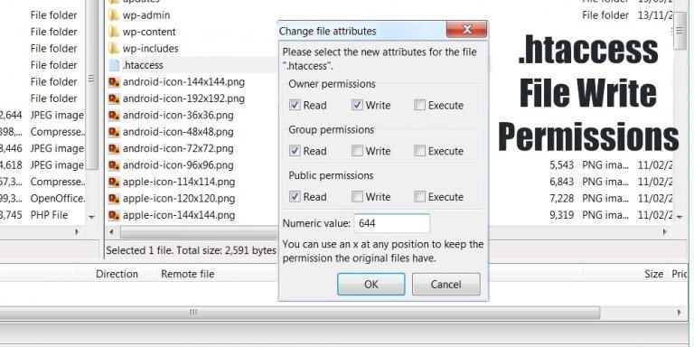 WordPress .htaccess Write Permissions