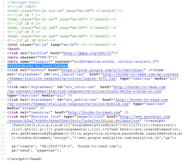 HTML Title Tag Example