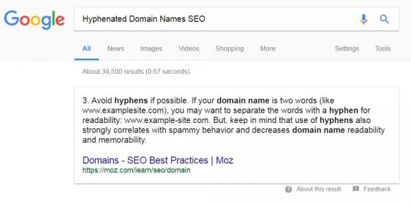 Hyphenated Domain Names SEO
