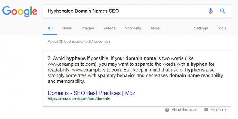 Hyphenated Domain Names SEO