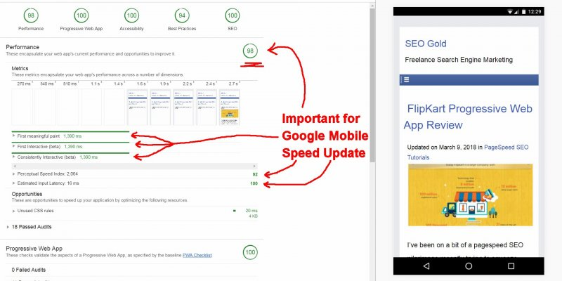 Important Google Page Speed Metrics