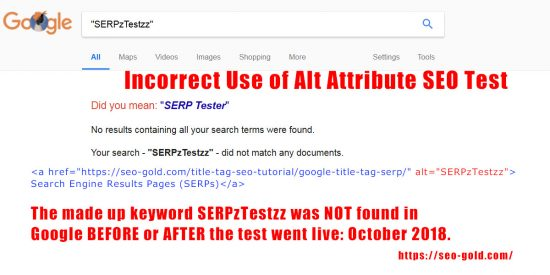 Incorrect Use of Alt Text SEO Test