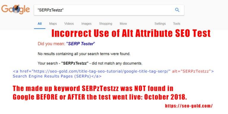 Incorrect Use of Alt Text SEO Test