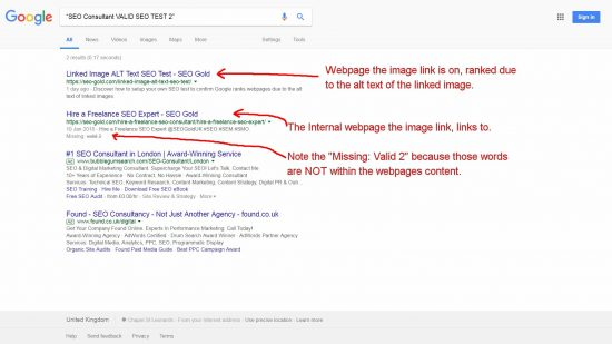 Internal Image Link ALT Text SEO Test Result